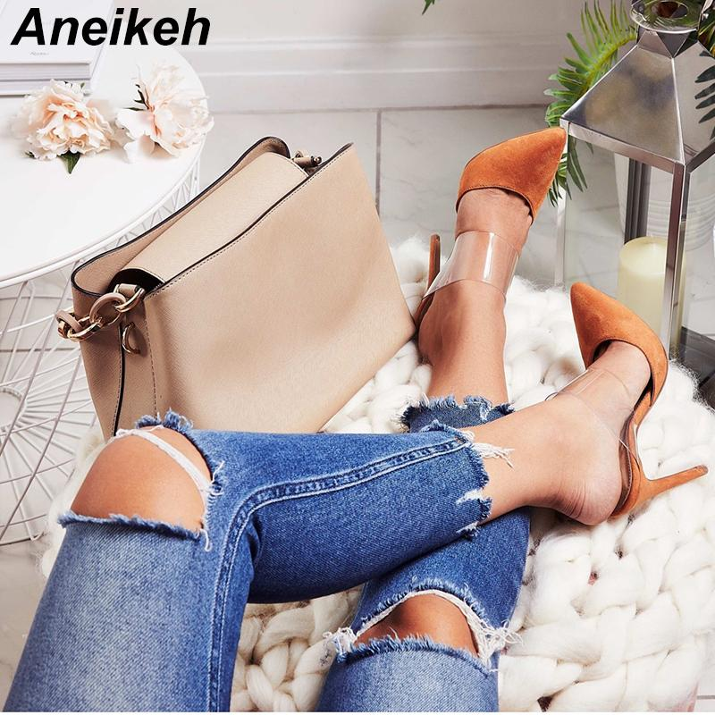 f380294b0 Wholesale Women S Sandals 2018 Sexy Transparent Stilettos Slingback PVC  Sandals Wedding Dress Woman Pumps Shoes Orange Black Size9 White Sandals  Wedge Heels ...