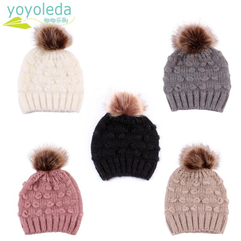 5f07c93de75 2019 Cute Toddler Kids Boy Hat Baby Infant Warm Cap Winter Wool Hat Knit Beanie  Fur Pom Pom For Girls Childrens Drop Shipping From Gaozang