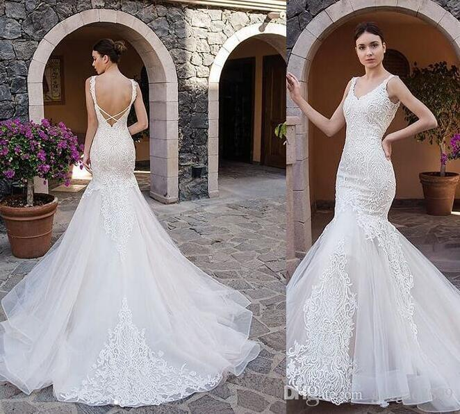 9d25b12034 real picture Elegant Mermaid Wedding Dresses 2019 new vintage Tulle lace  Applique sweep Train Plus Size Wedding Bridal Gowns With backless