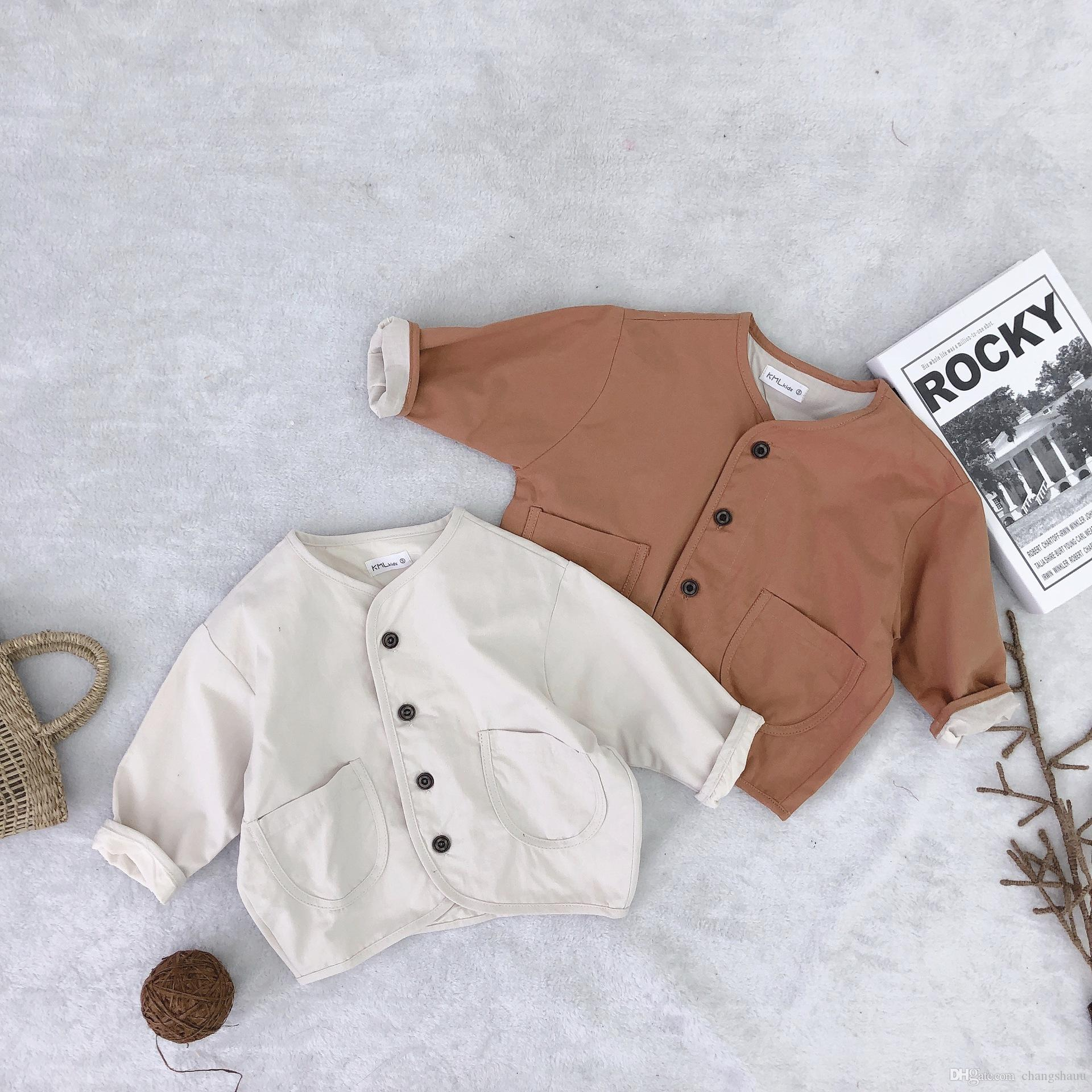 Children's Clothing New Kid's Clothes Korean Pure Colored Coat Pure Cotton Single-row Button Top Collar-less Casual Jacket