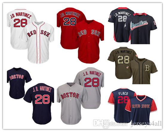check out 53c09 6f531 Mens Boston Red Sox 28 Baseball Jerseys J.D. Martinez Red White Navy Gray  Grey Jersey Green Salute Players Weekend All Star