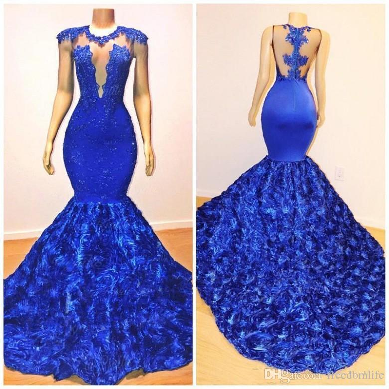 New Royal Blue Mermaid Prom Dresses 2019 Rose Flowers Long Chapel Train Sheer Neck Applies Beads 2K19 African Pageant Dress Evening Gowns