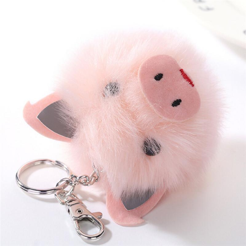 Cute Pink Pig Keychain Pom Pom Keychains Fake Fur Ball Key Chain Fluffy Bag  Charms Keyring Accessories Key Chain Key Rings From Heathere d4487b8b120a