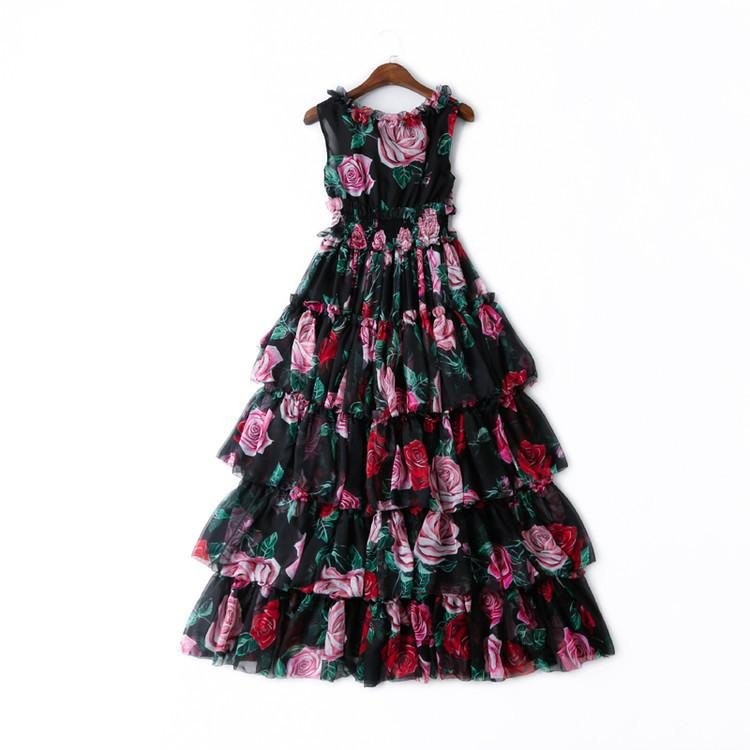 2019 2019 Spring Short Sleeve V Neck Rose Floral Print Tiered Elastic Waist  Long Maxi Dress Luxury Runway Dresses D11N120604 From Dynastbridal 7fb4fce43