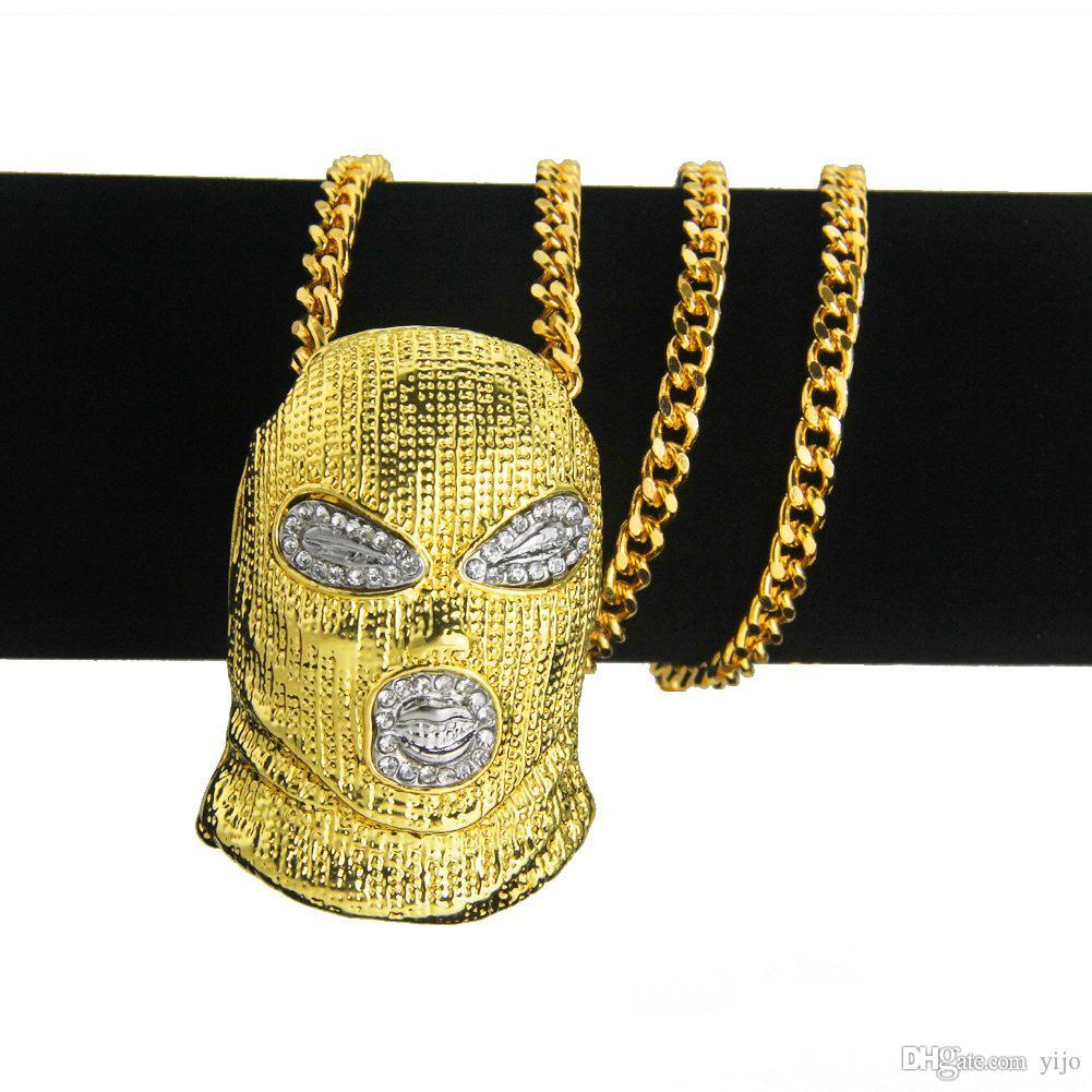 New Diamond-Encrusted Hip-hop Counter-terrorism Hood Pendant Men's Necklace Nightclub Bubble Bar Single-Fashioned Men's Necklace Jewelry