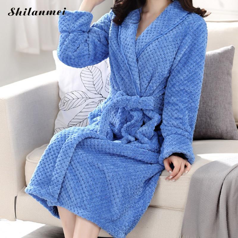 Men's Sleep & Lounge Robes Couple Dressing Gowns For Men Women 2018 Autumn Winter Plush Couple Bathrobe Thick Warm Female Kimono Dressing Robe