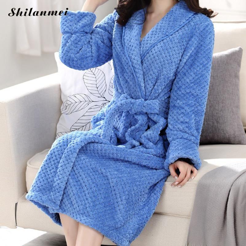 96a7e37ca4 2019 Women Men Flannel Bath Robe Sleepwear 2018 Autumn Winter Soft Plush  Couple Bathrobe Thick Warm Female Kimono Dressing Robe From Yuhuicuo