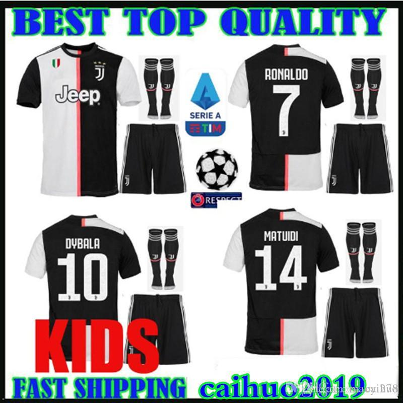 size 40 320e5 f9bcc new patch kids kit 19 20 RONALDO Juventus champions league soccer jerseys  DYBALA 2019 2020 home MANDZUKIC Bonucci child boys Football shirts
