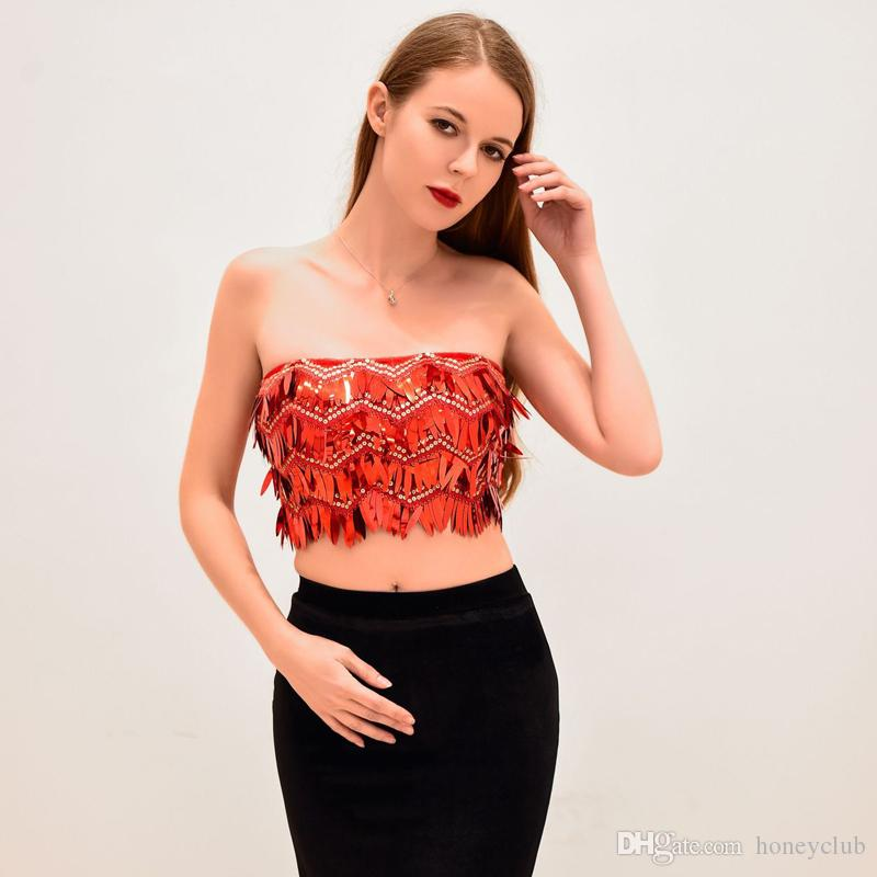 a1ef21f681 2019 Red Sequin Top Prom Party Crop Top For Woman High Quality New Year S  Sequined Top Bridesmaids Blouse Plus Size From Honeyclub