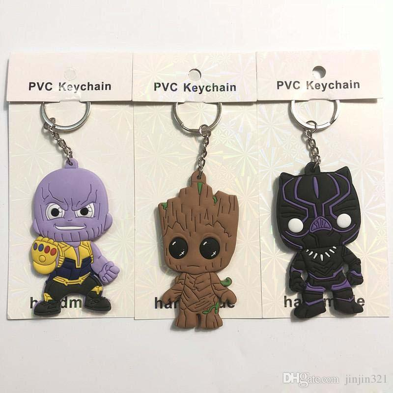 4 Style Avengers 3 : Infinity War Keychain 2018 New movie Thanos Black Panther Groot PVC Key Chain toys 6cm