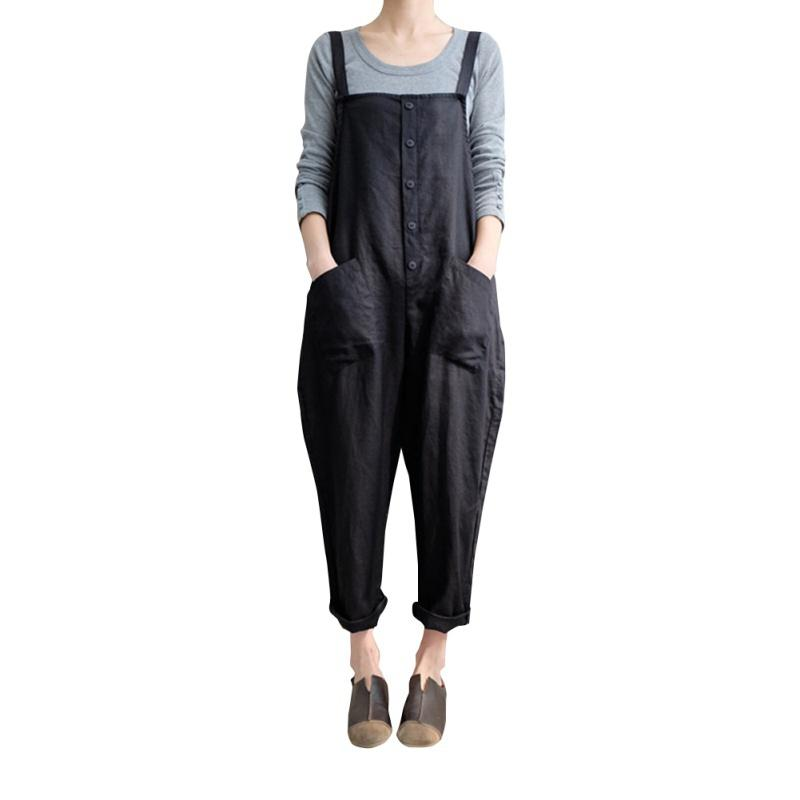 Women Loose Cotton And Linen Solid Pockets Jumpsuit Strap Harem Trousers Ladies Overall Pants Casual Playsuits Plus Size 5XL