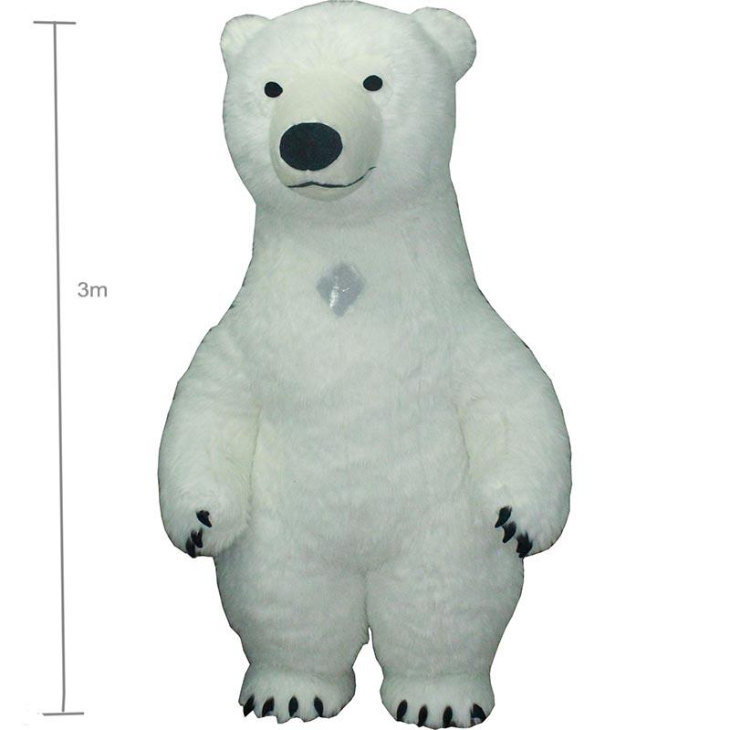 3m white bea Mascot Costume For Adult Inflatable Polar Bear Costume Advertising For Fantasias Homem Customize Tall Short Hair