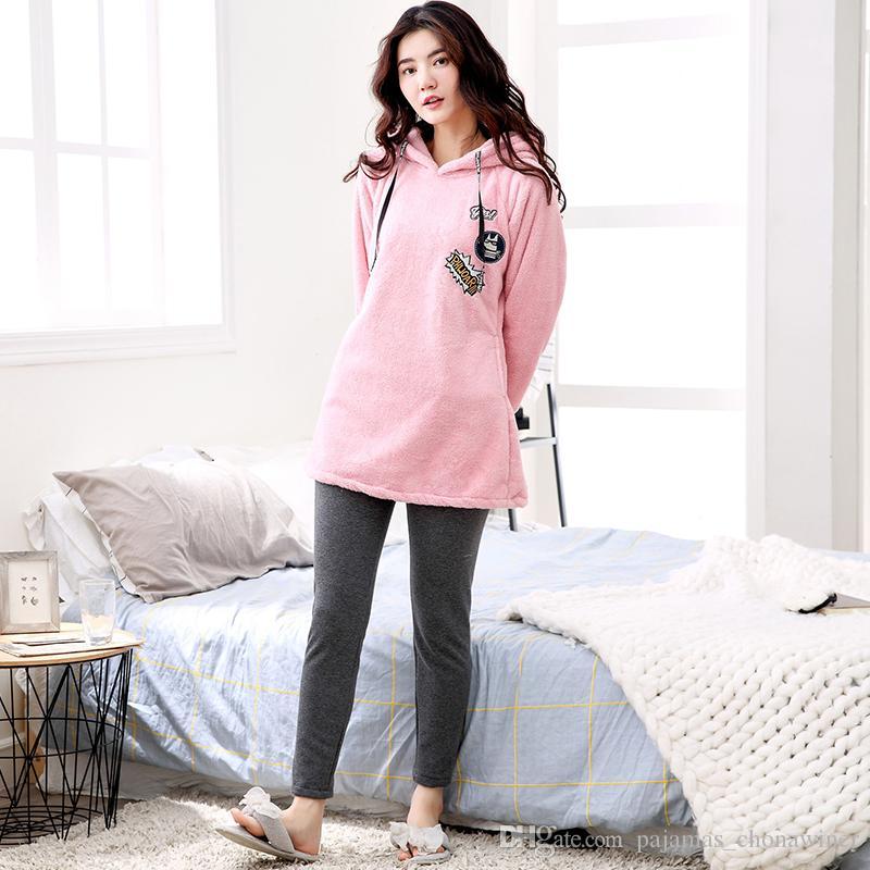 99555894a Compre 2019 Outono Inverno Grosso Quente Flanela Conjuntos De Pijama Para  As Mulheres De Manga Longa Coral De Veludo Pijama Bonito Menina Dos  Desenhos ...