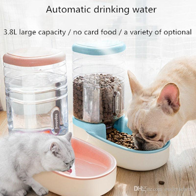 Pet Supplies Pet Dog Cat Automatic Food Supply 2 In 1 Bowl Bottle Drinking Feeding Bowls Tall Traveling Cat Supplies