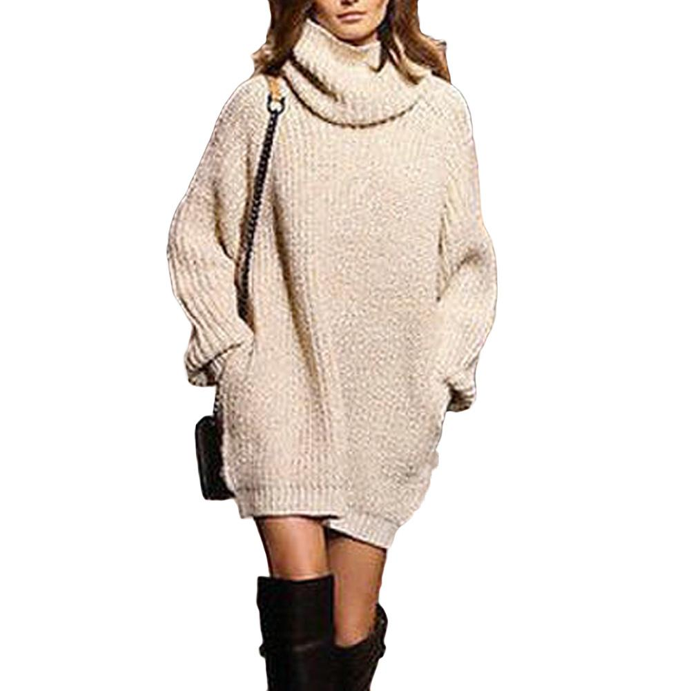 2019 New Winter Women Turtleneck Sweater Dress Warm Oversize Long Sleeve Jumper  Dress Pockets Casual Ribbed Knitted Mini Dress White Dress Party Dresses  For ... 6f0378a259