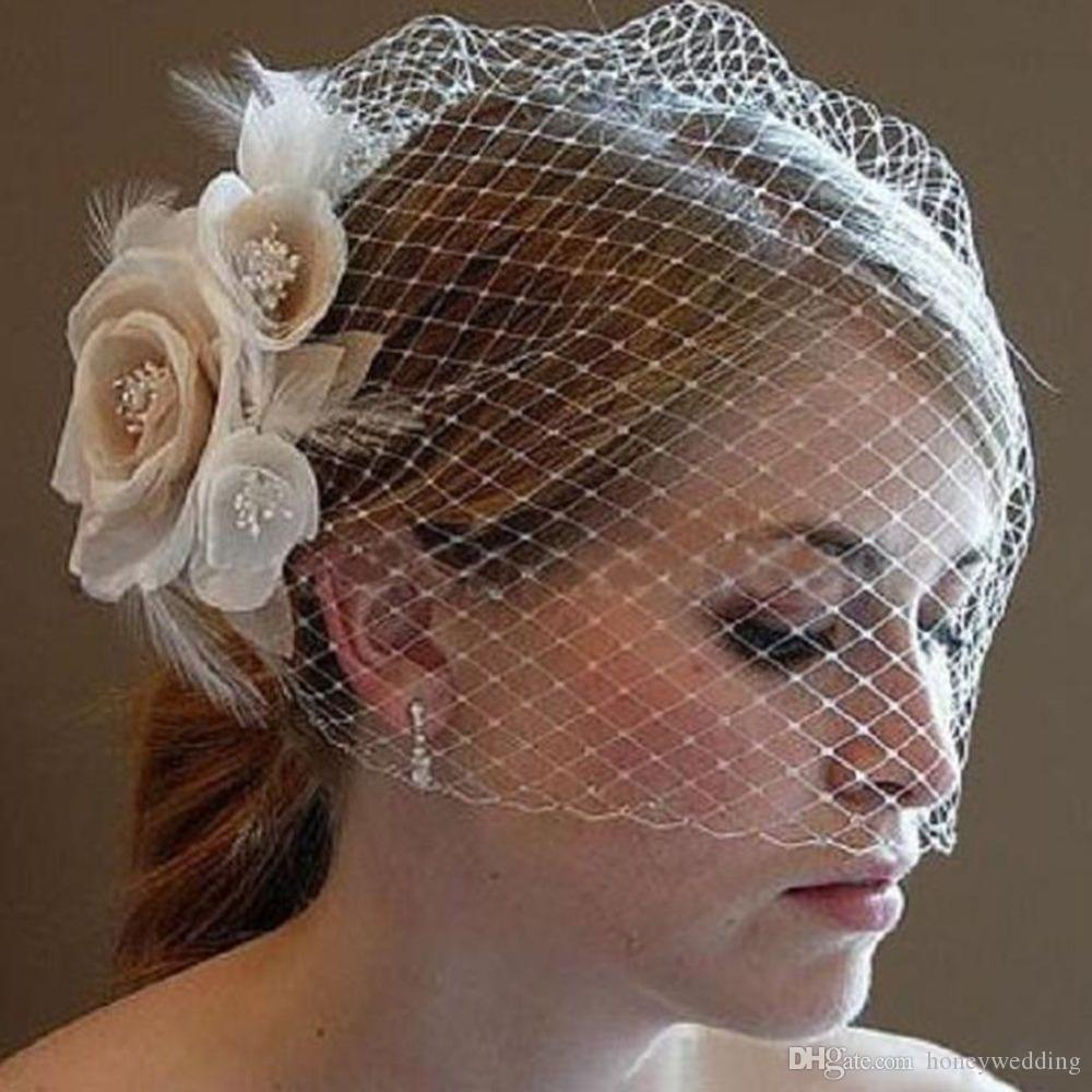 New Short Flower Wedding Veil With Comb Bridal Birdcage Veil Blusher Veil Wedding Accessories Voile Marriage Cheap