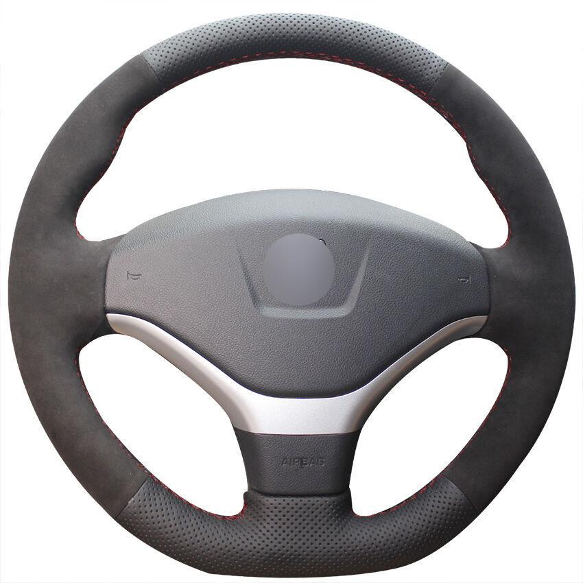 Pour Peugeot 308 En Cuir Noir Daim Couverture De Volant De Voiture Cousu Main