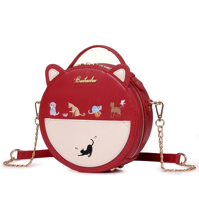 Girls Kuwaii Cat Embroidered Round Leather Crossbody Bag Women Red Ivory Circular  Handbag Mini Animal Kitty Ears Handle Satchel Outdoor Backpack Travelling  ... cd80c3c302b01