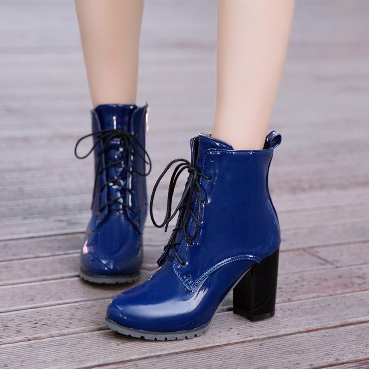 Compre Botines De Charol Tacones Altos Mujer Botas De Invierno Moda Punta  Estrecha Zapato De Mujer Tacón Grueso Lace Up Boots Negro Tamaño 43 A   65.13 Del ... 4d180cb53edb
