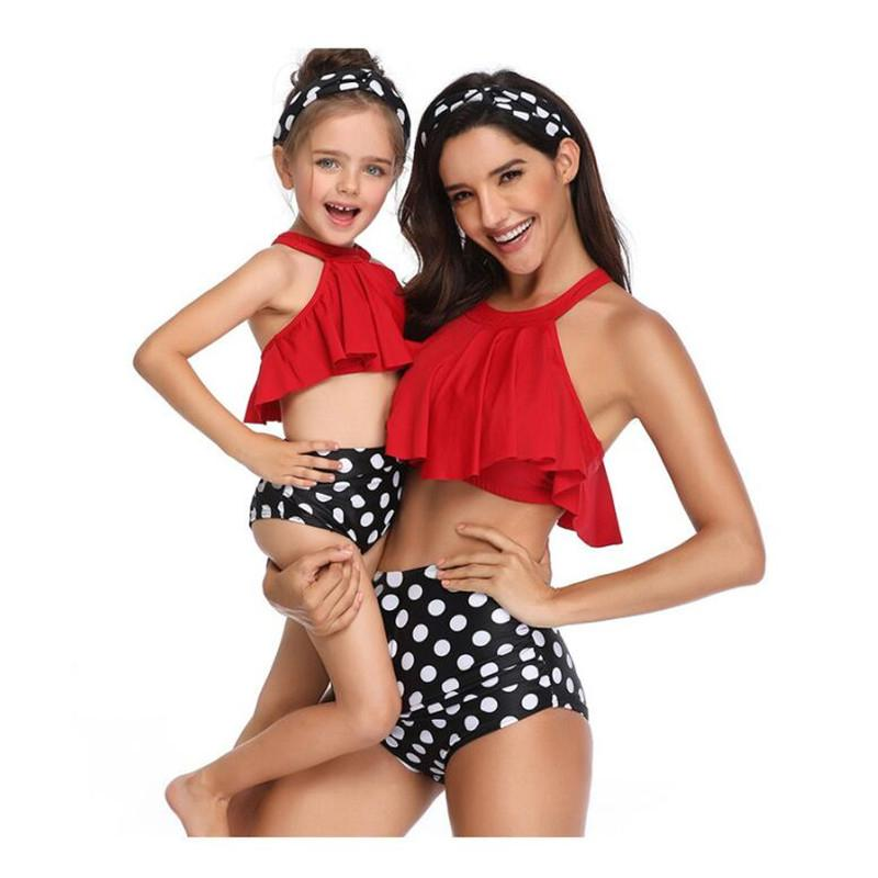 bb3c26917c 2019 Summer Family Matching Outfits Swimwear Mother Daughter Printed Dots Swimsuit  Bikini Bathing Suit Flounce Design Swimwear Matching Family Outfits For ...