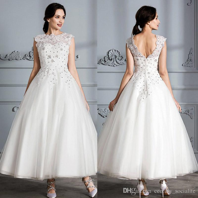 Discount New Beach Wedding Dresses Ankle Length Bridal Gowns Plus
