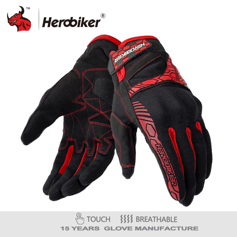 Protective Gears HEROBIKER Motorcycle Motorcycle Gant Moto Touch Screen Motocross Gloves Breathable Racing Riding Motorbike Gloves Guantes