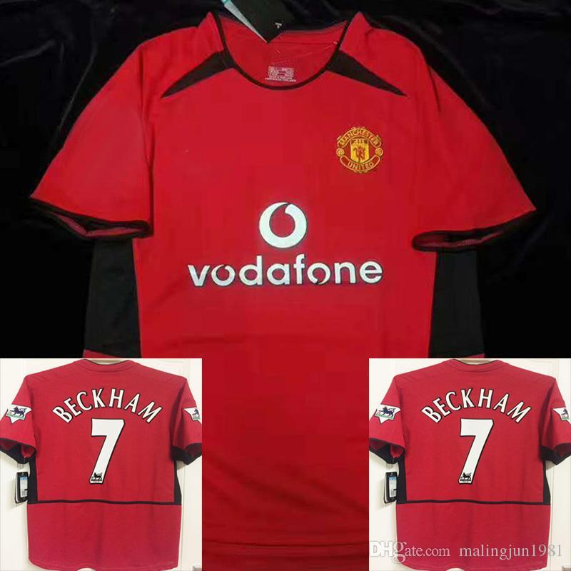 aff5fb197a3 02 04 Manchester United Beckham Camiseta De Fútbol U Man UTD Hombre Ronaldo  Giggs Keane Scholes Champions 2002 2004 Retro Jerseys UTD Football Maillot  ...