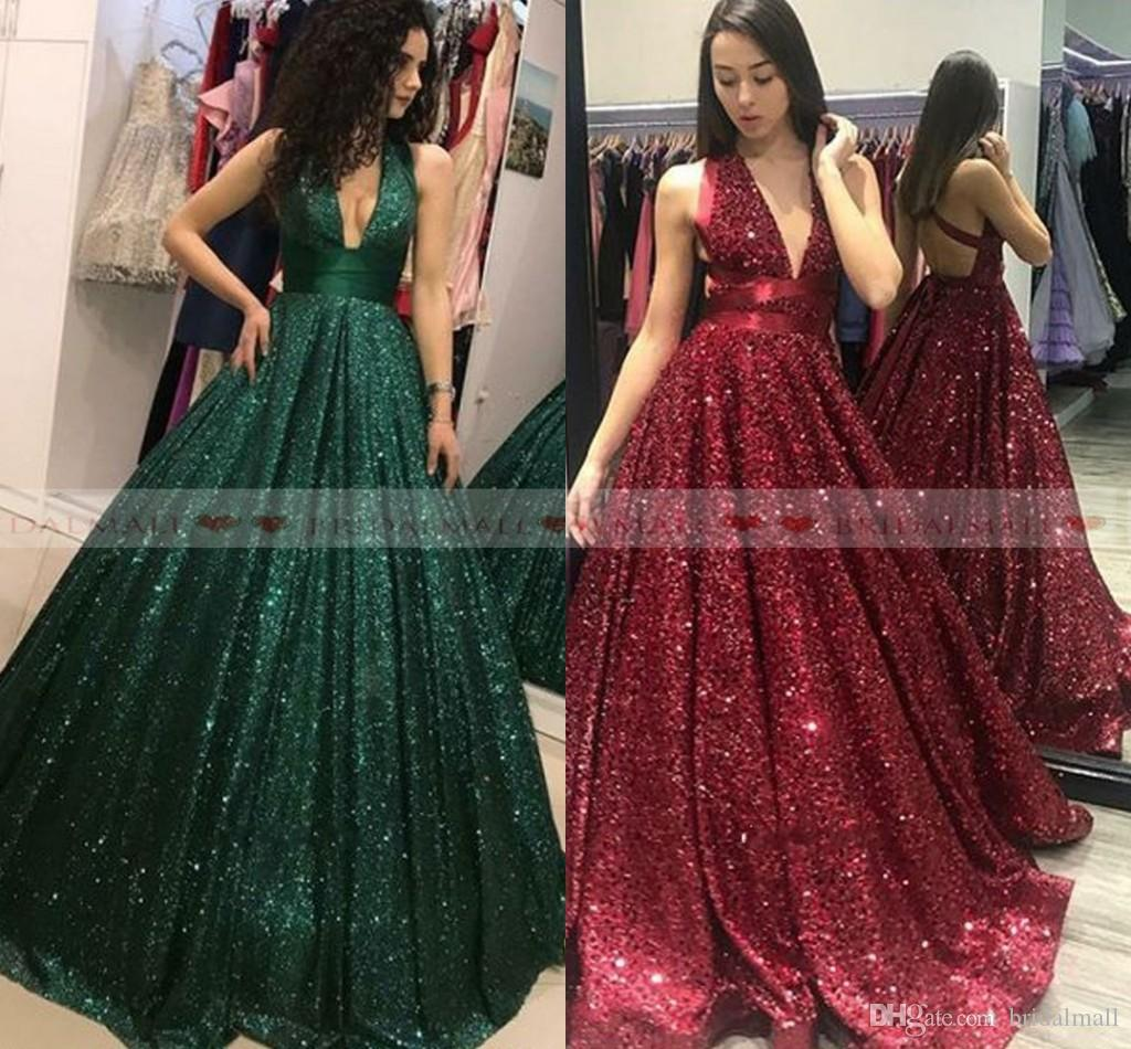 253b94e8ee1 Sexy 2019 Deep V Neck Green Sequined Long Prom Dresses Sexy Backless ...