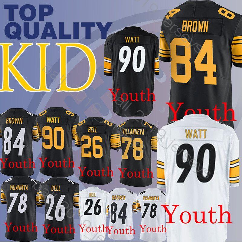 brand new 6a786 6820c Kids Pittsburgh jerseys Steeler 84 Antonio Brown YOUTH T.J. 90 Watt  Alejandro 78 Villanueva Le'Veon 26 Bell boy clothes jersey