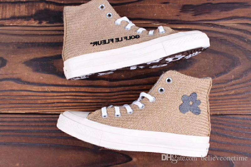 f10b5f752ae 2019 2019 New The Creator X Golf Le Fleur All Star 70 Hi Burlap 1970 Brown  Sunflower Best Quality Running Casual Skate Shoes With Bag Box 35 44 From  ...