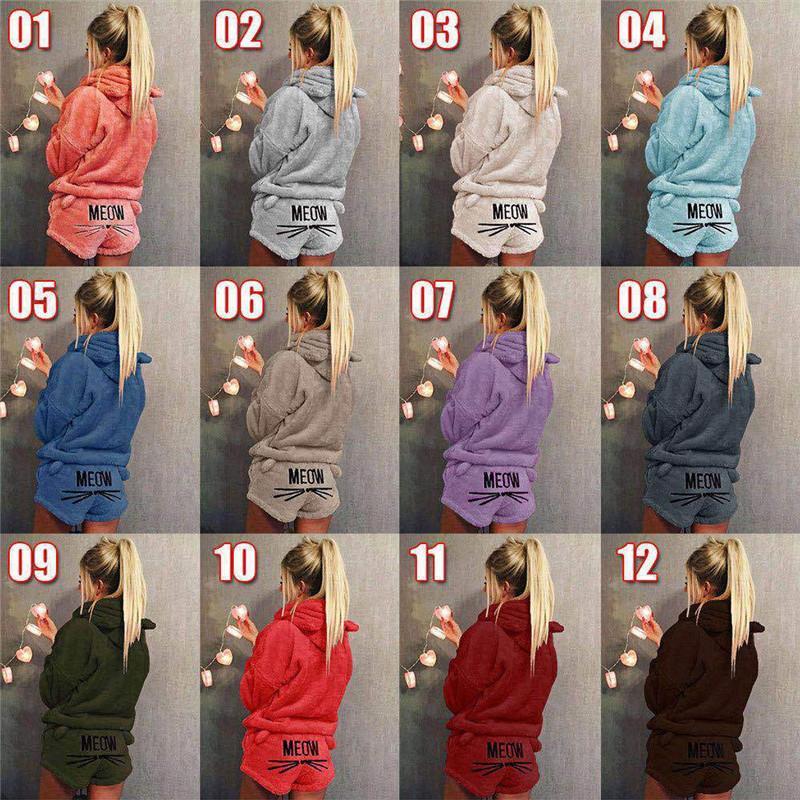 39589ca96ef52b Mulheres Kitty Fleece Com Capuz Pijamas Homewear Bordado Orelha de Gato Com  Capuz Camisola Pullover Shorts Com Capuz Conjunto de Pijama De Pelúcia ...