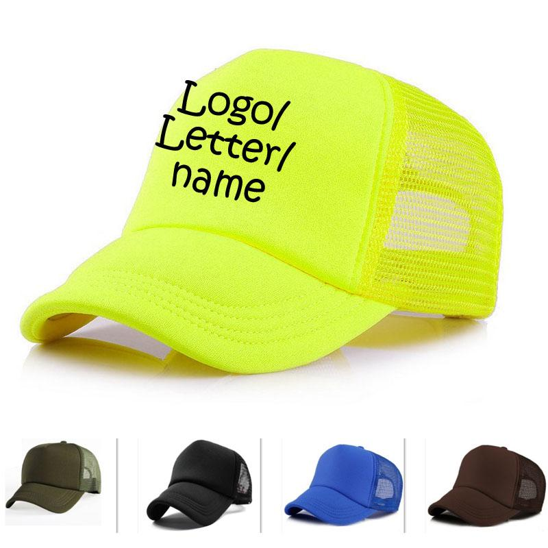 Free Vinyl Print Logo/Name Women Candy caps Camo Summer Breathable adult Cap Custom Trucker Hats Unisex Baseball Hat Outside