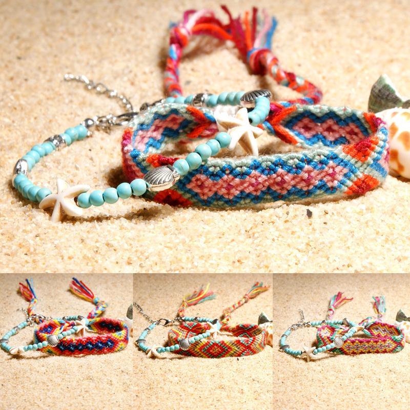 Diy Bracelets Handmade Woven Braided Bracelets Nepal Style Ankle Bracelets Friendship Souvenir Cords Thread For Girls Teens Women M431y