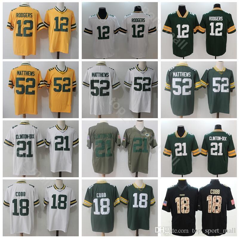 a5db7f9ed 2019 Green Bay Packers Football 12 Aaron Rodgers Jersey Men 18 Randall Cobb 52  Clay Matthews 21 Ha Ha Clinton Dix Vapor Untouchable Green White From ...