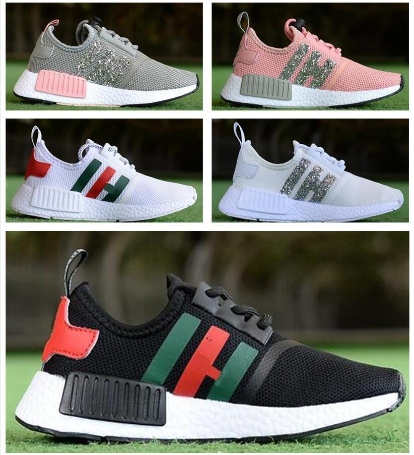 Children Boys Girls NMD R1 Baby Kids Shoes White Black Red Pink Crystal  NMDS CS Sequins Trainers City Sock Sneakers Running Shoes Size28 35  Childrens ... ae47a28c8f6c