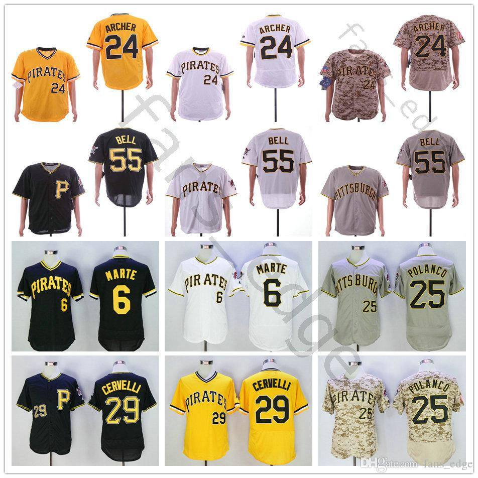 super popular 95961 9f5e4 Pittsburgh 6 Starling Marte Jersey Pirates 24 Chris Archer 8 Stargell 25  Gregory Polanco 29 Francisco Cervelli 55 Josh Bell Baseball Jerseys