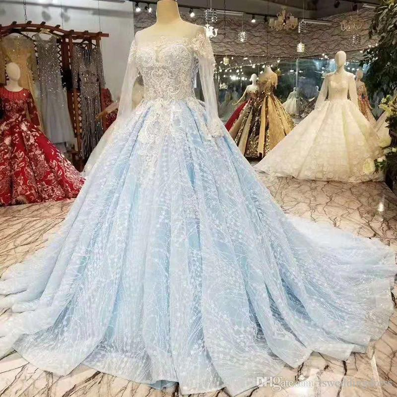 63e1034de56 2019 Newest Light Blue Evening Dresses Long O Neck Long Sleeves Lace Up On  Two Sided Guests Prom Dress With Train Ladies Dresses Croatia Formal Wear  Modest ...