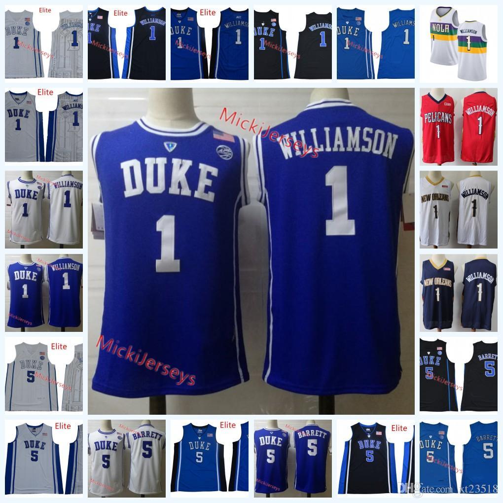 promo code 0d44a c120d Mens NCAA Duke Blue Devils R. J. Barrett Basketball Jersey Round neck #5  RJ. Barrett #1 Zion Williamson New Orleans Duke Jerseys S-3X