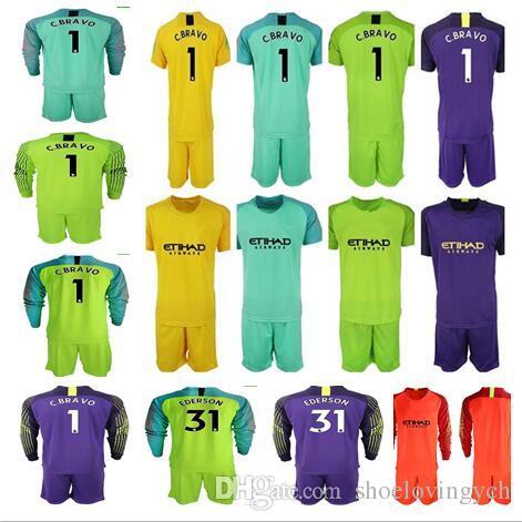 7c559d07e 2019 2018 19 Soccer Jerseys Goalkeeper Kit Long Sleeve Shirt Man  1 C.BRAVO  EDERSON  31 Goalie Uniforms City Football KUN AGUERO Adult Soccer Kit From  ...
