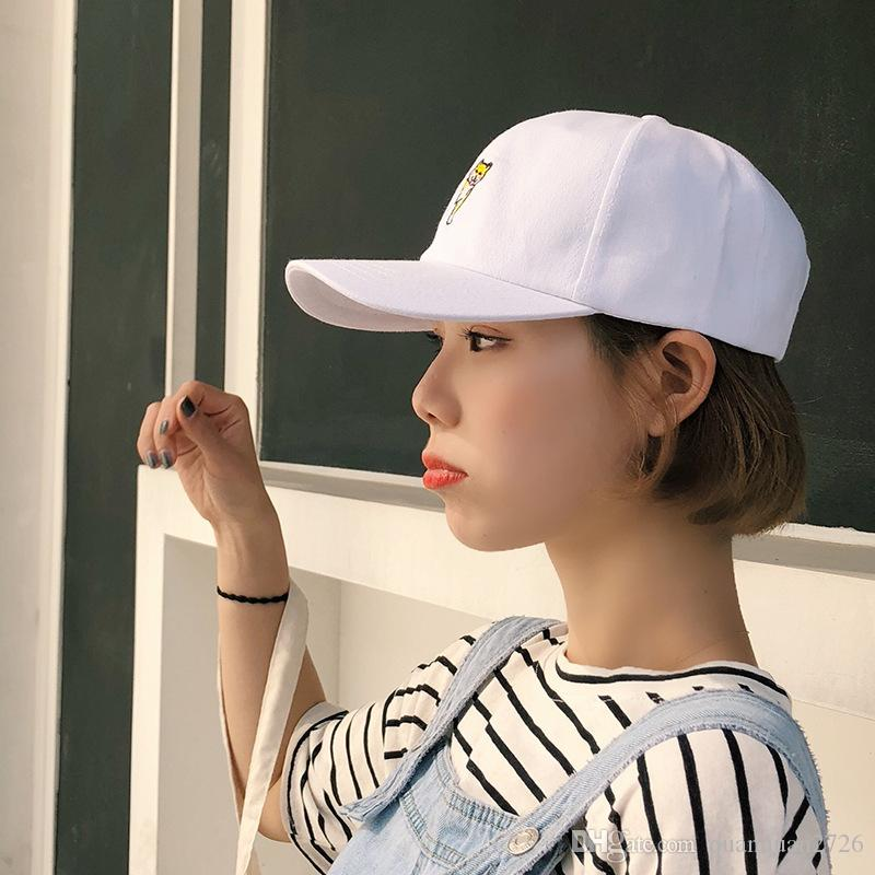 Chic cartoon Embroidery hat female Xia Han edition student cute small fresh cap hundred shade baseball cap tide
