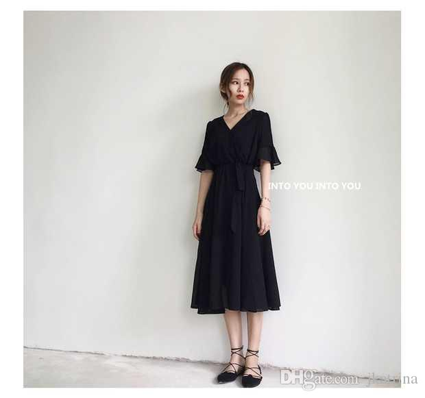 08 À NoirePlus Soie Longue S Petite Mode V Mousseline La Noires Col Jupe En Xxxl Pour Femme De Robes 2018 Robe Taille yOmNnv80w