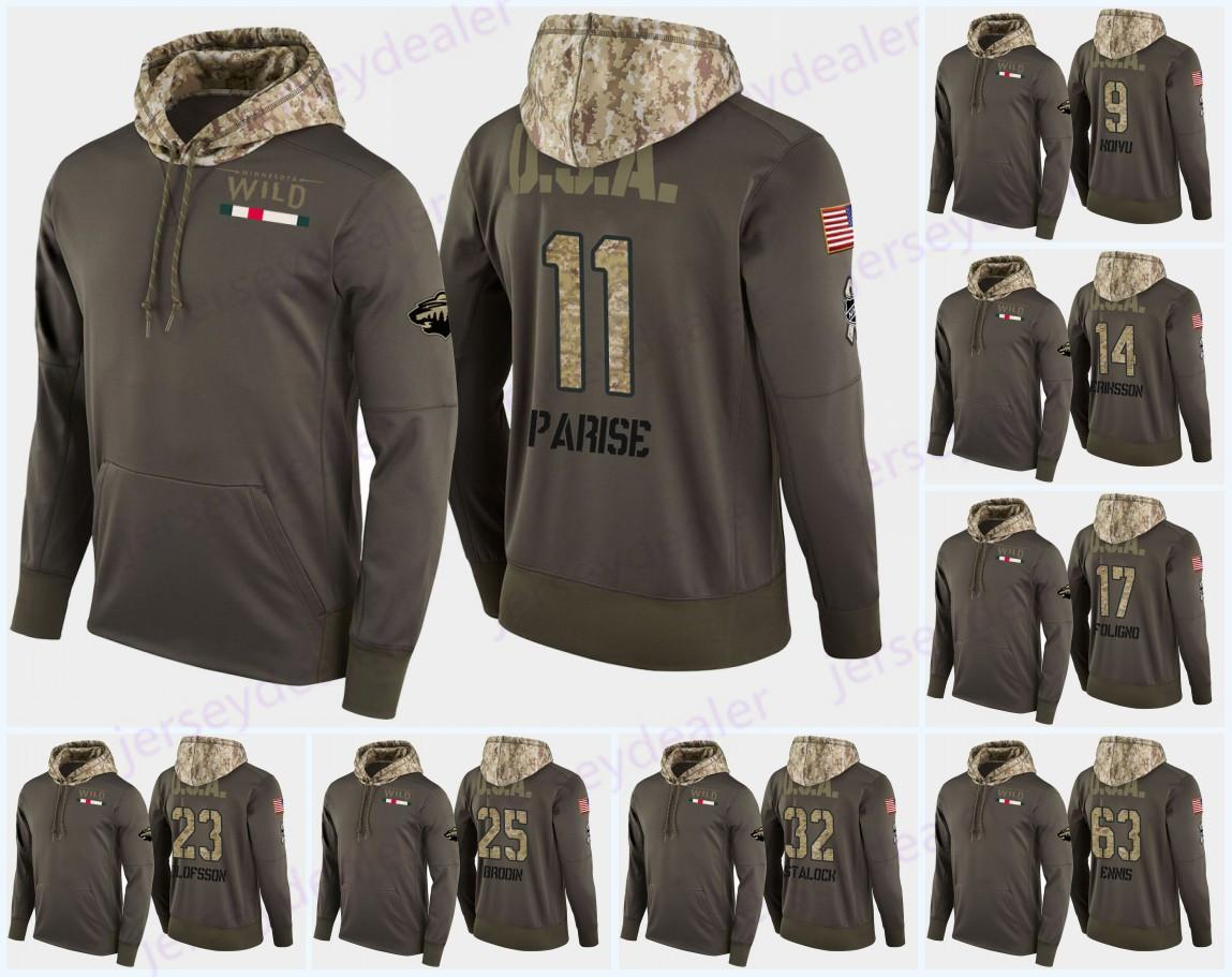 Zach Parise Minnesota Wild Military Camo USA Flag Hoodie 24 Matt Dumba 9 Mikko Koivu 16 Jason Zucker 46 Jared Spurgeon 32 Alex Stalock