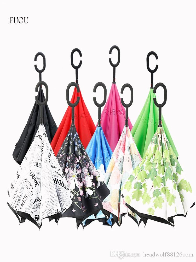 6431af1d9 C Handle Windproof Reverse Folding Umbrella Man Women Sun Rain Car ...