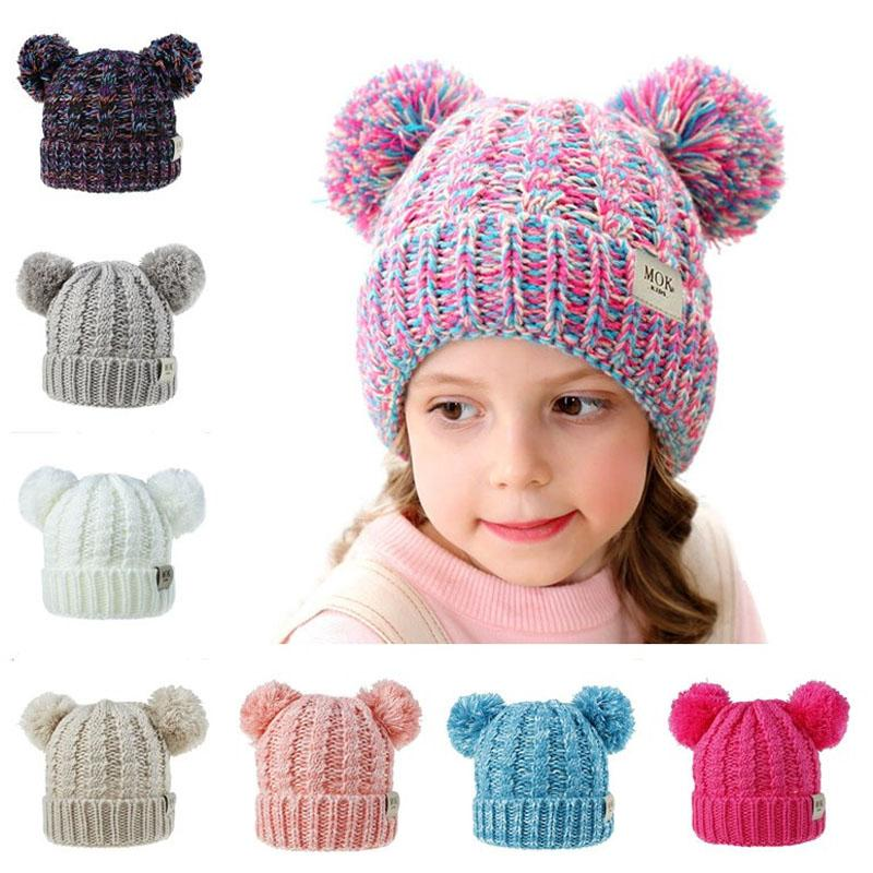 New 2019 Baby Girls Knit Cap Kid Crochet Beanies Hat Double Fur Ball Hats Children Knit Outdoor Caps 12color B12