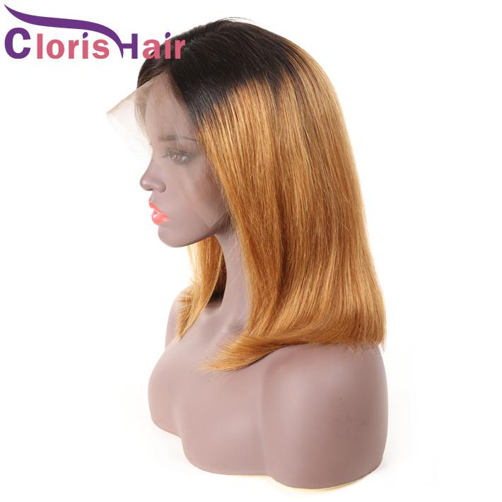 Colored 1B 27 Human Pixie Lace Front Wigs Straight Raw Indian Hair Glueless Bob Wig For Black Women Honey Blonde Ombre Short Wig Full End