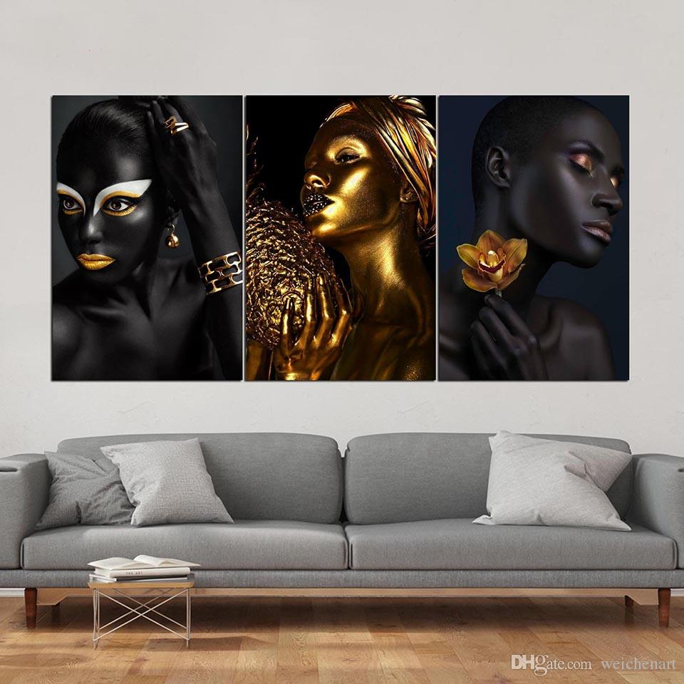 Contemplator Black Woman Oil Painting on Canvas Wall Art