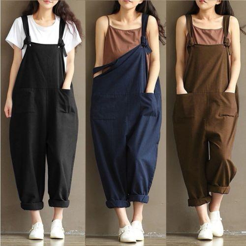 New Summer Women Casual Linen Bodysuits Cotton Wide Pants Jumpsuit Strap Harem Long Trousers Overalls Plus Size