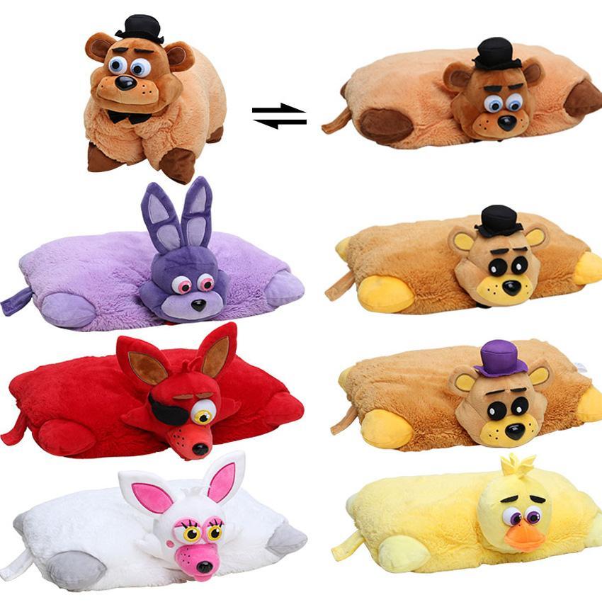 Set of 7 EMS 43cm Freddy Fazbear Plush Pillow Five Nights At Freddy s  Mangle Foxy Chica Bonnie Golden Bear Toys FNAF Car Cushion