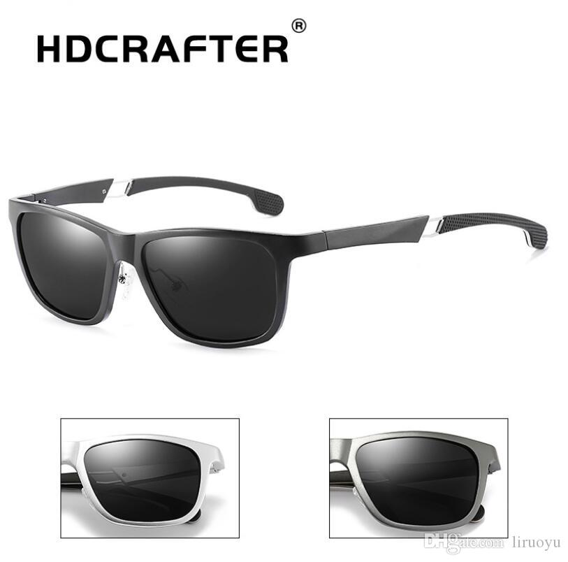 5953ed3d910 HDCRAFTER Brand Men S Polarized Sunglasses Al Mg Alloy Frame Anti Glare  Driving Outdoor Riding Ultraviolet Proof HD Sunglasses