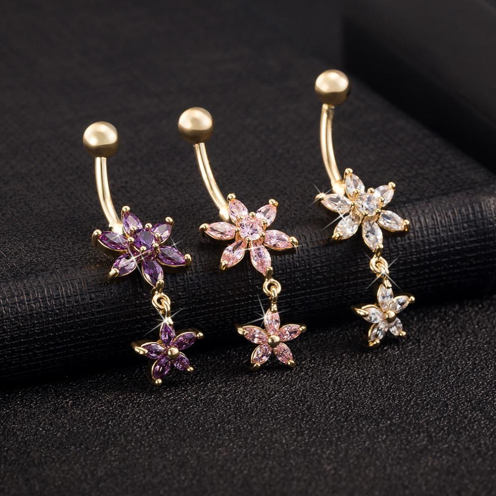 Charming Double Star Zircon Chromatic Color Navel Piercing Flowers Crystal Belly Piercing Fashion Simple Belly Button Ring